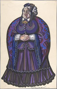 Old Woman in a purple dress  Sergey Sudyekin  (Russian, Smolensk 1882–1946 Nyack)    Date:      first half 20th century  Medium:      brush and black ink, gouache, watercolor, traces of graphite framing lines  Dimensions:      sheet: 15 3/4 x 10 1/16 in. (40 x 25.6 cm)  Classification:      Drawings  Credit Line:      Gift of William S. Wasserman, 1965  Accession Number:      65.715.19