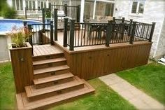 Pool deck and patio ideas images. We specialise in pool deck and patio installation. Wooden Decks, Wooden Pergola, Wooden Steps Outdoor, Patio Plus, Deck Building Plans, Pool Deck Plans, Deck Skirting, Diy Deck, Outdoor Swimming Pool