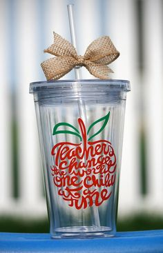 Personalized Teacher Tumblers: Teachers Change the World One Child at a Time   16oz Acrylic tumbler cup   includes cup, straw and bow   personalization available