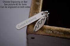 Engraved Bar Necklace   Surfboard Necklace   Surfer Waves Ocean Necklace   Sterling Silver Bar Necklace   Vertical Bar Necklace   2 Sided