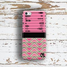 Unique gift for teen girls Chevron iPhone 4 case by ToGildTheLily.  Monogrammed gifts for girls.  Hot pink, black and chevron Aztec Iphone case.