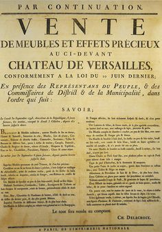 A poster announcing the auction of furniture from the estate of the Petit…