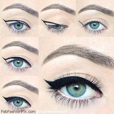 How to do cat eyeliner makeup look tutorial? #cateye #cateeyeliner #eyeliner #makeup