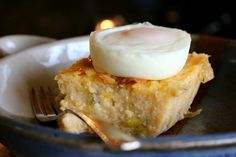 Green Chile Cheese Grits and a Poached Egg