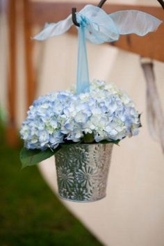 blue hydrangea Wedding aisle flower décor wedding ceremony flowers pew flowers wedding flowers add pic source on comment and we will update it can create this beau. Aisle Flowers, Wedding Ceremony Flowers, Rustic Wedding, Our Wedding, Summer Wedding, Wedding Blue, Wedding Ideas, Flower Decorations, Wedding Decorations