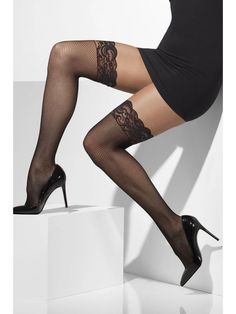 You can purchase a pair of Fishnet Hold-Ups for your beautiful legs in parties from the Halloween Spot. These black hold-ups will look good with black costume. Hold Up Stockings, Lady Stockings, Fishnet Stockings, Black Stockings Outfit, Black Fishnet Tights, Black Fishnets, Fancy Dress Accessories, Costume Accessories, Gothic Girls