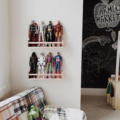 IKEA spice racks = the perfect action figure storage/display