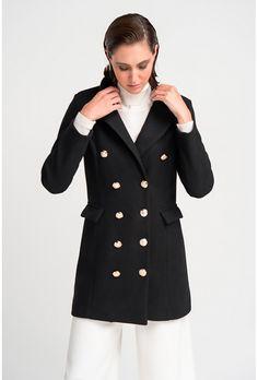 Ημίπαλτο σταυρωτό μαύρο.Έχει πέτο γιακά με δύο εξωτερικές τσέπες με καπάκι και σταυρωτό κούμπωμα με κουμπιά.Ελληνική ραφή. Faux Fur, Blazer, Coat, Jackets, Shopping, Fashion, Down Jackets, Moda, Sewing Coat