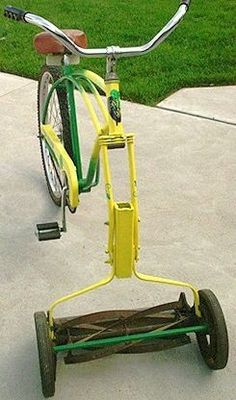 WAKE UP THE LAWN WEEK: What a clever way to give the traditional push mower an old-fashioned boost. Wish we'd thought of it! #Spring #LawnCare #LetsDoThis