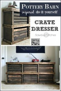 Diy Furniture DIY Pottery Barn Inspired Crate Dresser by -Read More – Pallet Furniture, Furniture Projects, Home Projects, Pallet Dresser, Cheap Furniture, Dresser Bench, Rustic Dresser, Diy Projects For Bedroom, Diy Nightstand