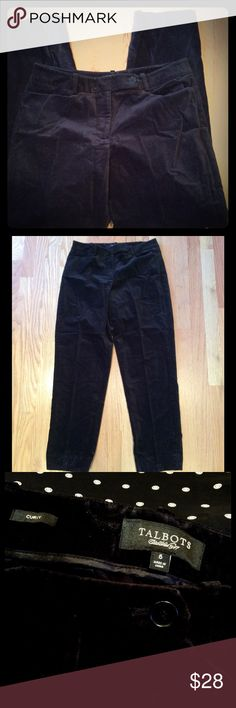 Festive black velveteen pant! Classic! Really EUC! Festive black velveteen pant! Classic! Really EUC! Pockets front and back. Zip front with button tab closing. Another excellent Talbots pant that takes on *your* style.  You choose! Add your silk or lace top, jacket, big turtleneck, denim or leather. Curvy fit. 98% cotton with just a tad 2% spandex for comfort. Talbots Pants Trousers