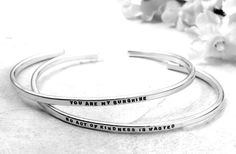 Custom Cuff Bracelet  hand stamped sterling by KathrynRiechert, $48.00    *One of my favorite things to make!