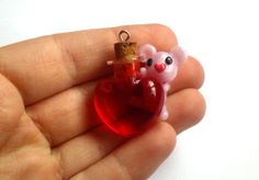 Heart Bottle with Polymer Clay Bear Charm by TinySnowFlake on Etsy