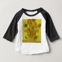 Vincent Van Gogh Sunflowers - Classic Art Floral Baby T-Shirt - rustic gifts ideas customize personalize