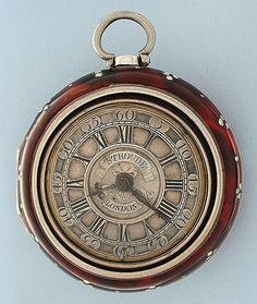 Fine English tortoise shell and silver triple case verge and fusee antique pocket watch by Stroude, London,   circa 1750.  ♥♥♥♥