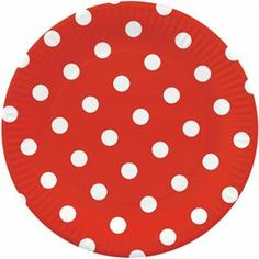 "PAPSTAR Lot 10 assiettes plate 23 cm ""Pois rouge"""