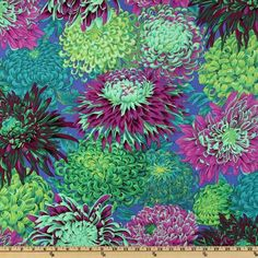Kaffe Fassett Collective 2010 Pandora Chrysanthemum from @fabricdotcom  Designed by Phillip Jacobs for Westminster Fabrics. Colors include purple, violet blue, citrine, sage, lime, celadon and lilac. Use for quilting and craft projects.