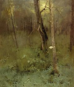 At the Edge of the Wood, 1886, Thomas Millie Dow, a Scottish painter (1848-1919) -  in a private collection
