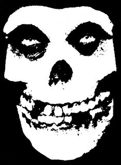The Misfits' skull logo first appeared on the ' Horror Business' single, based on a poster for The Crimson Ghost. Description from deseq.com. I searched for this on bing.com/images