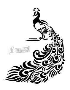 Peacock Stencil by Artisan mil mylar stencil for raised or flat design. Elevante your DIY style with stencils. Stencil Patterns, Stencil Art, Stencil Designs, Stenciling, Feather Stencil, Feather Drawing, Animal Stencil, Bird Stencil, Peacock Drawing Simple