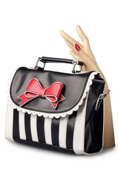 Lola Ramona - Girly Black White Striped Red Bow handbag shoulder bag