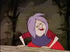 'Mad' Madam Mim, from The Sword and the Stone. She tries so hard to be so delightfully evil, and ALMOST succeeds! :)
