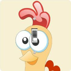 """Rikki KnightTM Chicken Cartoon Face - Single Toggle Light Switch Cover by Rikki Knight. $13.99. The Chicken Cartoon Face single toggle light switch cover is made of commercial vibrant quality masonite Hardboard that is cut into 5"""" Square with 1'8"""" thick material. The Beautiful Art Photo Reproduction is printed directly into the switch plate and not decoupaged which make these Light Switch Plates suitable for use in any room in the office, home, etc. etc.. These Light Sw..."""
