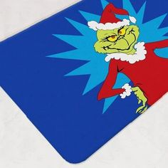 Let the Grinch steal Christmas for you with this Dr. Seuss Holiday Bath Mat! A fun and easy-to-clean way to decorate your bathroom for the festive season! Whoville Christmas, Grinch Stole Christmas, Blue Christmas, Girl Bathroom Decor, Bathroom Kids, Nursery Themes, Themed Nursery, Nursery Ideas, Christmas Bathroom