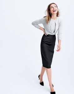 AUG '15 Style Guide: J.Crew women's Collection cashmere cardigan sweater, Collection cashmere shell top and director pencil skirt in Super 120s.