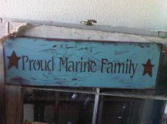 Proud Marine Family Blue Shabby  Patriotic Sign by tinkerscottage, $22.00