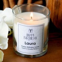 Personalised happy birthday chic swirls candle #candle #scented #birthday #thepersonalisedgiftshop £14.99