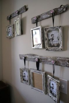 Rustic wall decor ideas to make - cute DIY idea for hanging pictures on the wall with old wood (pallet woods?) home rustic DIY Gallery Wall Ideas - Accent Wall Decorating Ideas To Copy - Decluttering Your Life Rustic Gallery Wall, Farmhouse Decor, Rustic House, Easy Home Decor, Diy Gallery Wall, Rustic Wall Decor, Farmhouse Diy, Diy Farmhouse Decor, Rustic Walls