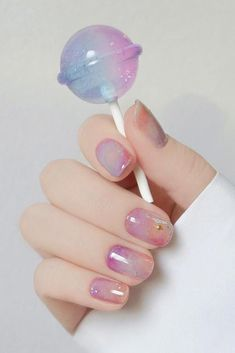 nail art designs for spring ; nail art designs for winter ; nail art designs with glitter ; nail art designs with rhinestones Cute Acrylic Nails, Cute Nails, Pretty Nails, Painted Acrylic Nails, Purple Nail, Ombre Nail, Purple Glitter, Nail Gradient, Pastel Pink Nails