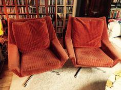 Verkaufe 2 Stühle aus den 70 ern in orange , Drehbar, Chromfuss, Bezug aus Cord , guter...,Sessel 70 er orange top in München - Trudering-Riem