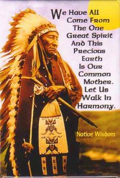 American Quotes ^We have all come from the one great spirit and this precious earth is our common Mother. Let us walk in harmony.^We have all come from the one great spirit and this precious earth is our common Mother. Let us walk in harmony. Native American Prayers, Native American Spirituality, Native American Wisdom, Native American Beauty, Native American History, American Indians, American Symbols, Indian Spirituality, Native American Tribes