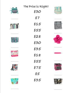 The price is right thirty-one game: have your guests take a few minutes to match the product to the prices. www.mythirtyone.com/jenfreed