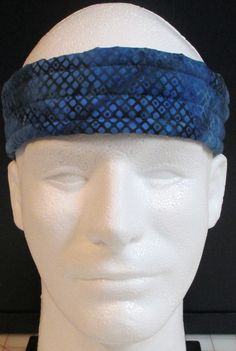 Ultimate Sweatband/Headband - Honeycomb Blue Batik by BondPracticalProduct on Etsy