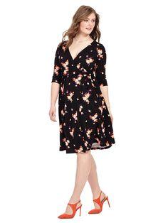 Kiyonna | Wrap Dress in Rose Print | Gwynnie Bee