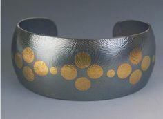 24k gold & oxidized sterling silver moorish cuff-Keum Boo- Maria Samora