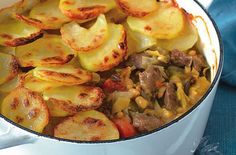 A simple Lamb and bean hotpot recipe for you to cook a great meal for family or friends. Buy the ingredients for our Lamb and bean hotpot recipe from Tesco today. Tesco Real Food, Real Food Recipes, Cooking Recipes, Slow Cooking, Retro Recipes, Ethnic Recipes, Tofu Dishes, Lamb Dishes, Potato Toppings