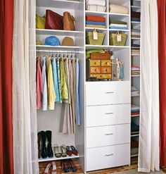 two fabric closet curtain
