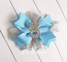 Carolina Blue White and Silver Glitter Hairbow