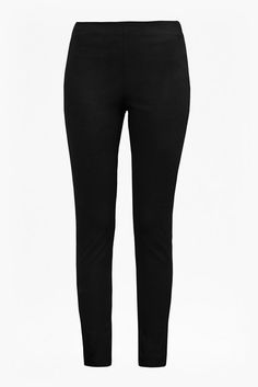 French Connection Black Street Trousers: Cut for an ultra-flattering skinny fit, the French Connection Street Trousers a stretch cotton-twill cigarette trousers are a faultless wardrobe essential. Designed with a gentle high rise, they elongate the legs and show off pretty tops and blouses to perfection. High-waist trouser style featuring a single back welt pocket,and exposed gold-tone side zip fastening.
