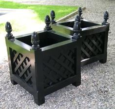This elegant wooden planter, shown in black is a great way to display your lovely flowers.  Product in photo is from www.wellappointedhouse.com