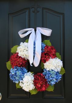 Holiday Wreaths - 4th of July Wreath - Independence Day Decor - Red White and Blue via Etsy