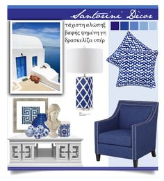 """Santorini Décor"" by carlavogel ❤ liked on Polyvore featuring interior, interiors, interior design, home, home decor, interior decorating, Safavieh, Jonathan Adler, Surya and Seasonal Living"