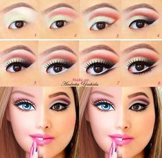 Barbie makeup -I'll put this under halloween. Our society literally is comparing Barbie dolls. Love Makeup, Beauty Makeup, Makeup Looks, Hair Makeup, Black Makeup, Makeup Eyes, Amazing Halloween Makeup, Halloween Face Makeup, Barbie Halloween Costume