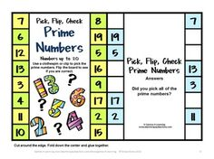FREEBIE - Prime and Composite Numbers Pick, Flip and Check Freebie cards by Games 4 Learning - The kids just pick, flip then check! Easy self correcting activity!
