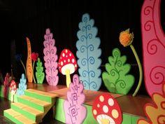 Disney's Alice in Wonderland jr. Disney's Alice in Wonderland jr. Alice In Wonderland Musical, Wonderland Theater, Wonderland Costumes, Alice In Wonderland Tea Party, Magic Room, Alice Tea Party, Stage Set, Mad Hatter Tea, Creations