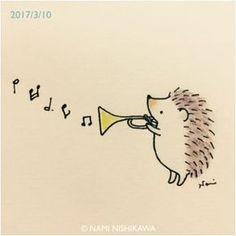 awww I didn't know martin freeman could play trumpet. Hedgehog Drawing, Hedgehog Art, Cute Hedgehog, Music Drawings, Easy Drawings, Hedgehog Illustration, Doodle Art, Cute Art, Hedgehogs